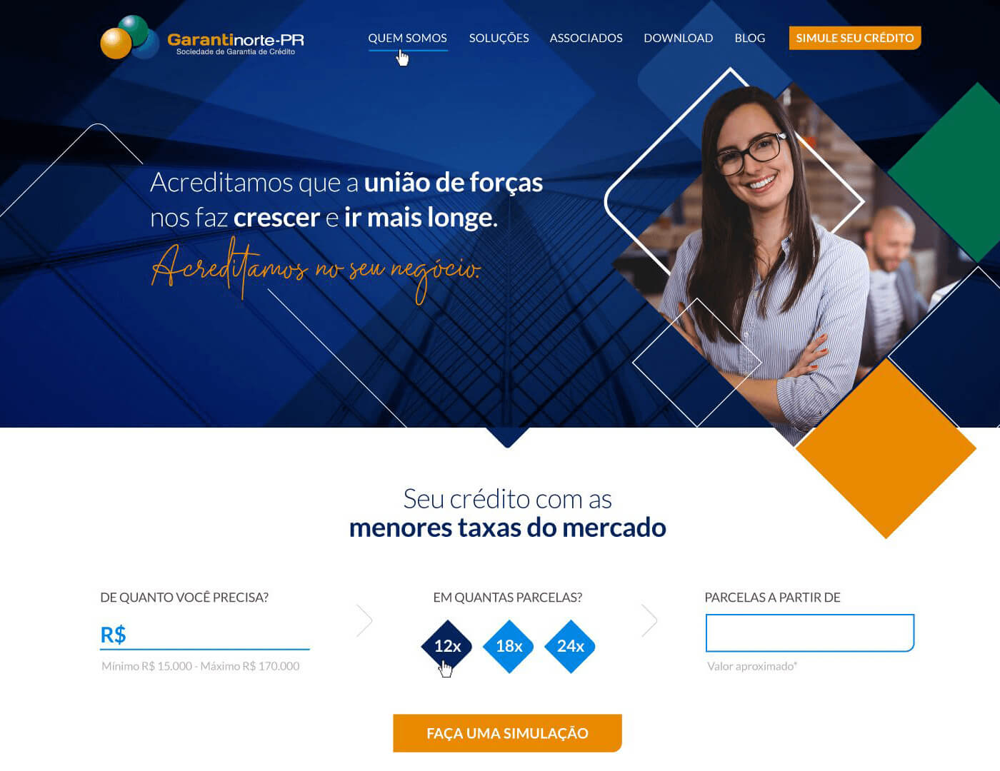 Criação de site para empresa financeira